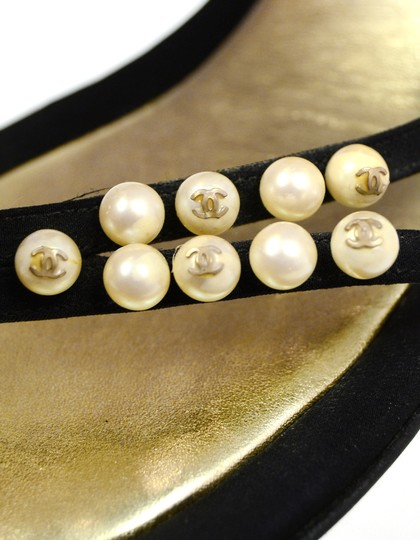 Chanel Satin Faux Pearls Black Sandals Image 6