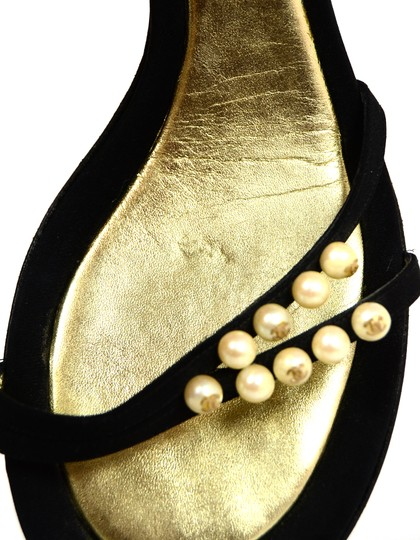 Chanel Satin Faux Pearls Black Sandals Image 7