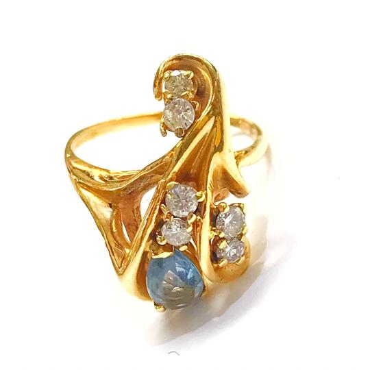 Preload https://img-static.tradesy.com/item/25854996/genuine-estate-collection-14-karat-yellow-gold-diamond-and-lite-blue-stone-ring-0-0-540-540.jpg