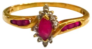 DeWitt's BEAUTIFUL!! GENUINE DEWITT ESTATE COLLECTION!! 10 Karat Yellow Gold, Diamond and Ruby Stone Ring