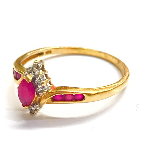 DeWitt's BEAUTIFUL!! GENUINE DEWITT ESTATE COLLECTION!! 10 Karat Yellow Gold, Diamond and Ruby Stone Ring Image 2