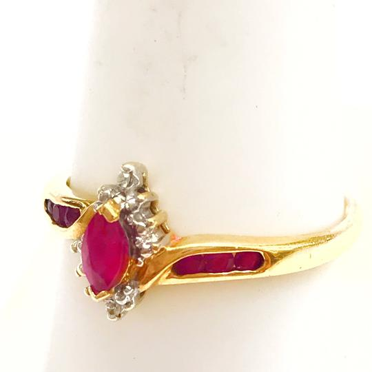 DeWitt's BEAUTIFUL!! GENUINE DEWITT ESTATE COLLECTION!! 10 Karat Yellow Gold, Diamond and Ruby Stone Ring Image 6