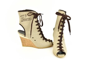 Gucci Logo Made In Italy Jute Beige Boots