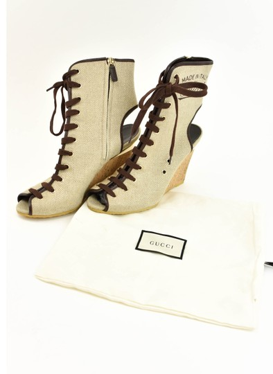 Gucci Logo Made In Italy Jute Beige Boots Image 1