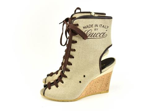 Gucci Logo Made In Italy Jute Beige Boots Image 2