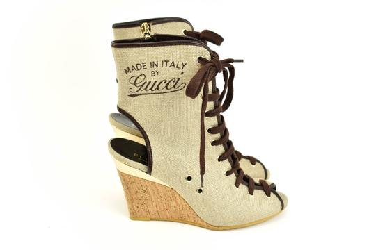 Gucci Logo Made In Italy Jute Beige Boots Image 6