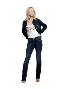 True Religion Denim Distressed Classic Date Night Straight Leg Jeans-Dark Rinse