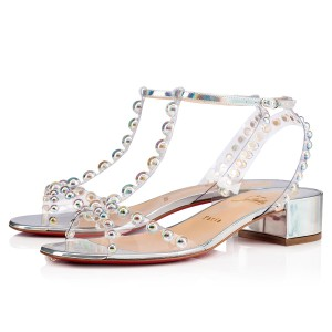 Christian Louboutin Pigalle Follies Stiletto Glitter Classic silver Sandals
