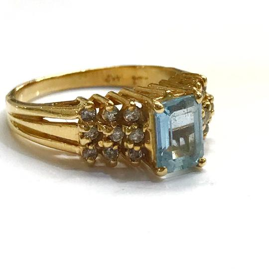 DeWitt's BEAUTIFUL!! GENUINE DEWITT ESTATE COLLECTION!! 14 Karat Yellow Gold, Diamond, and Blue Stone Ring Image 1