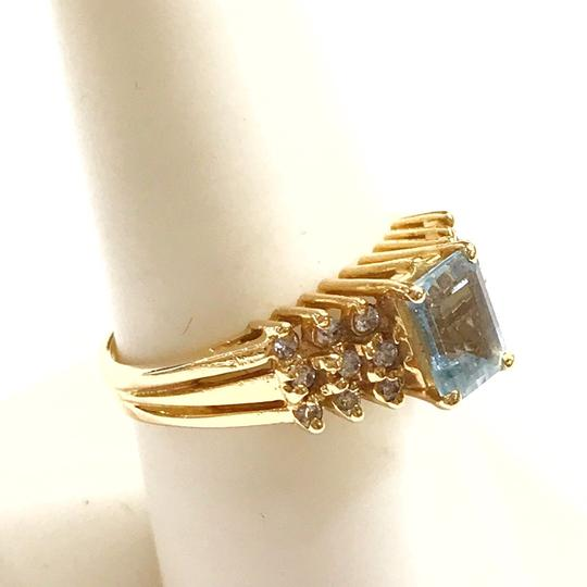 DeWitt's BEAUTIFUL!! GENUINE DEWITT ESTATE COLLECTION!! 14 Karat Yellow Gold, Diamond, and Blue Stone Ring Image 5