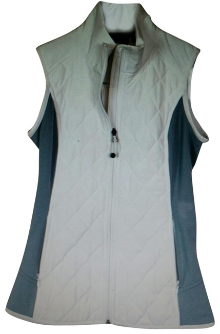 Item - White and Gray Upside Quilted Full Zip Activewear Outerwear Size 00 (XXS)