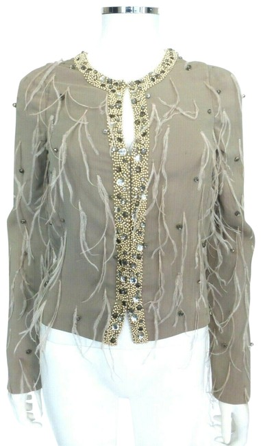 Preload https://img-static.tradesy.com/item/25855188/patrizia-pepe-taupe-w-evening-jacket-wfeathers-stones-eu-38-cardigan-size-2-xs-0-1-650-650.jpg