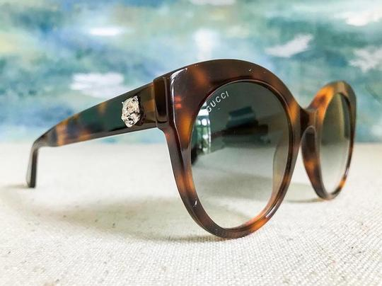 Gucci Brown with Tag Cateye Gg0028s 002 Havana 0028 Sunglasses Image 7