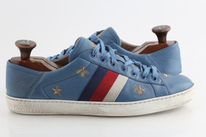 Gucci Blue Calfskin Embroidered Ace Web Sneakers Shoes