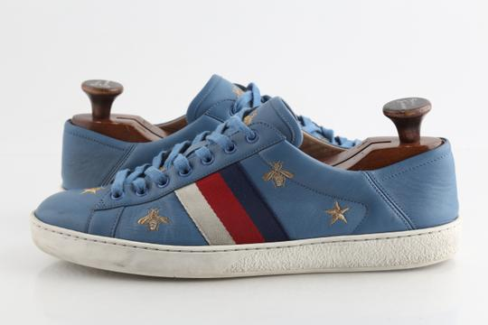 Gucci Blue Calfskin Embroidered Ace Web Sneakers Shoes Image 1