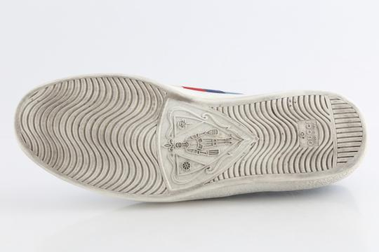 Gucci Blue Calfskin Embroidered Ace Web Sneakers Shoes Image 10