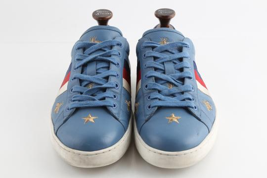 Gucci Blue Calfskin Embroidered Ace Web Sneakers Shoes Image 2