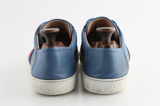 Gucci Blue Calfskin Embroidered Ace Web Sneakers Shoes Image 3