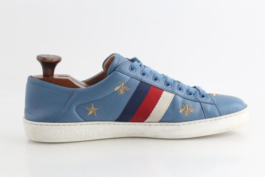 Gucci Blue Calfskin Embroidered Ace Web Sneakers Shoes Image 4