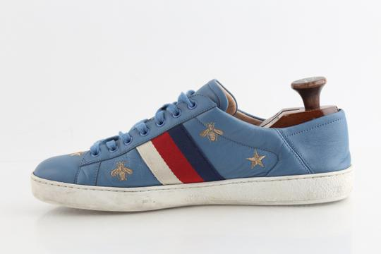 Gucci Blue Calfskin Embroidered Ace Web Sneakers Shoes Image 5