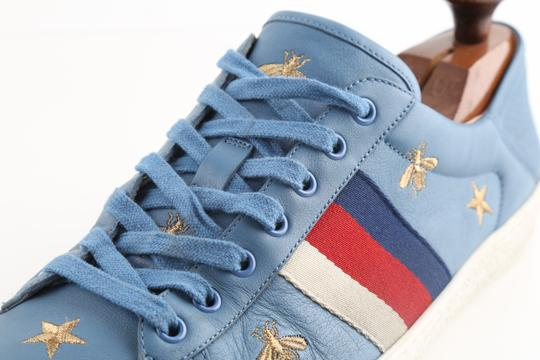 Gucci Blue Calfskin Embroidered Ace Web Sneakers Shoes Image 6
