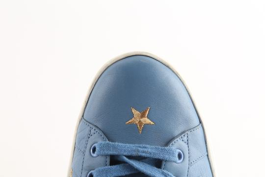 Gucci Blue Calfskin Embroidered Ace Web Sneakers Shoes Image 7