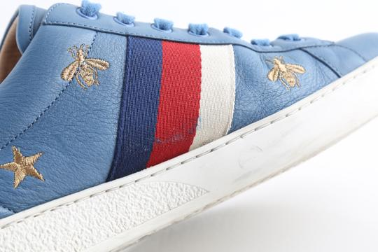 Gucci Blue Calfskin Embroidered Ace Web Sneakers Shoes Image 8