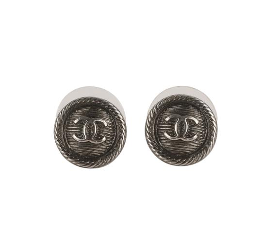 Chanel Round Textured CC Earrings Image 2