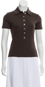 Tory Burch Summer Cotton Casual Sporty T Shirt Brown