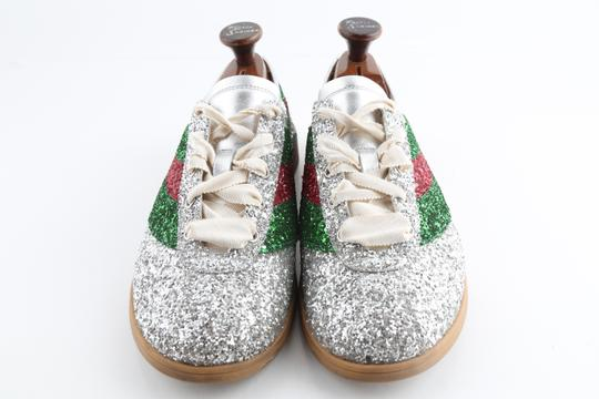 Gucci Multicolor Glitter Web Falacer Sneakers Shoes Image 2