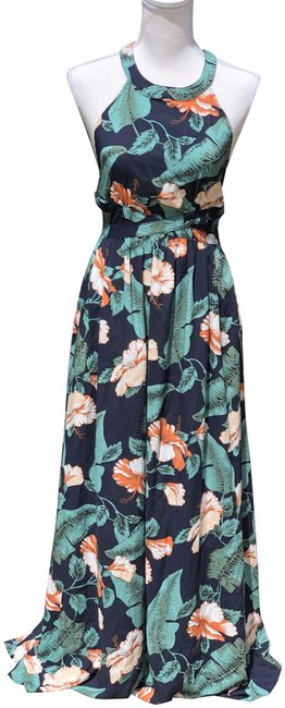 Item - Navy and Green Floral Long Casual Maxi Dress Size 8 (M)