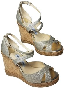 Jimmy Choo platinum ice glitter Sandals
