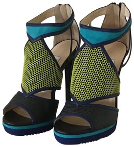 Jimmy Choo Black/Acid Yellow/Turquoise Sandals