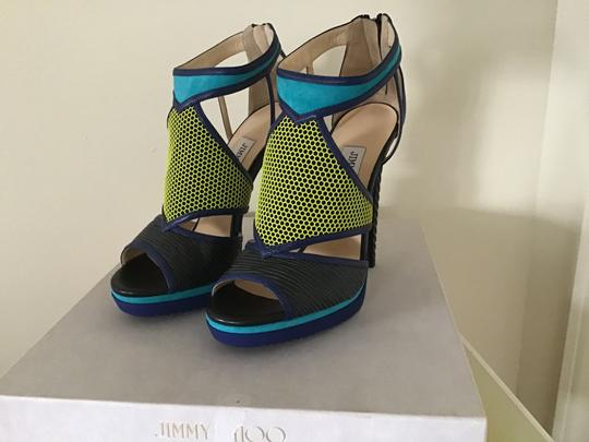 Jimmy Choo Black/Acid Yellow/Turquoise Sandals Image 1