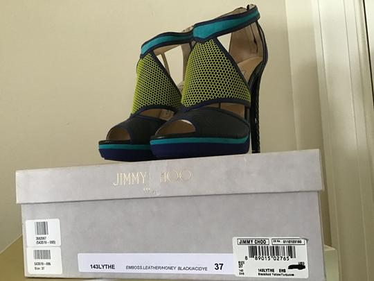 Jimmy Choo Black/Acid Yellow/Turquoise Sandals Image 2