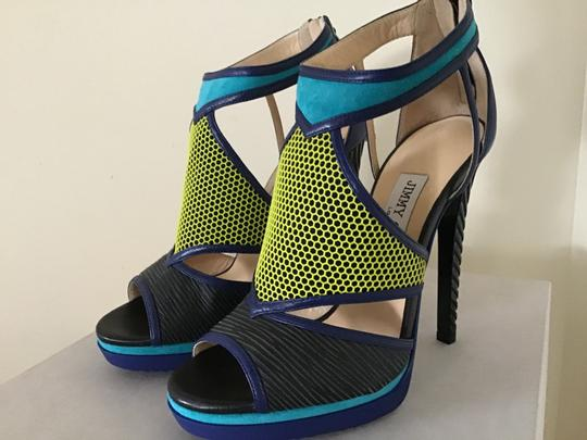 Jimmy Choo Black/Acid Yellow/Turquoise Sandals Image 3
