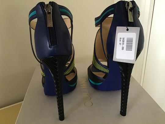 Jimmy Choo Black/Acid Yellow/Turquoise Sandals Image 6