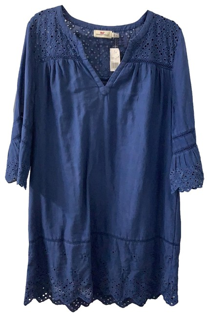Item - Navy Garment Dyed T Shift Mid-length Short Casual Dress Size 16 (XL, Plus 0x)