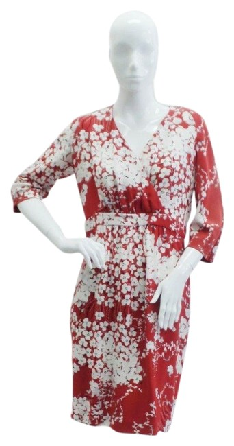 Item - Red / White / Blue / Brown Floral Print Silk Short Work/Office Dress Size 12 (L)