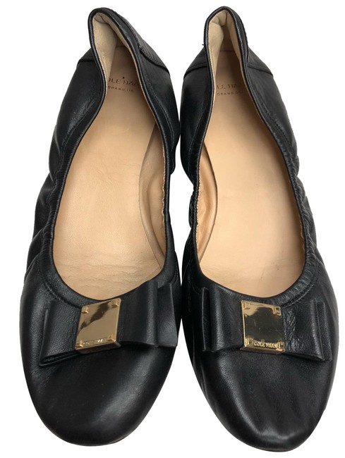 Item - Black Bow Detail Leather Flats Wedges Size US 8.5 Regular (M, B)