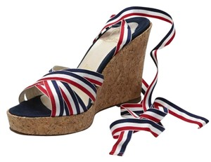 Christian Louboutin red white blue cork Wedges