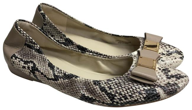 Item - Beige/Taupe Animal Print Leather Bow Detail Flats Pumps Size US 8.5 Regular (M, B)