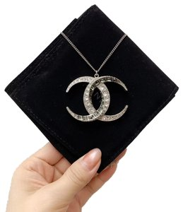 Chanel CHANEL Baguette Crystal Moon CC Necklace Silver