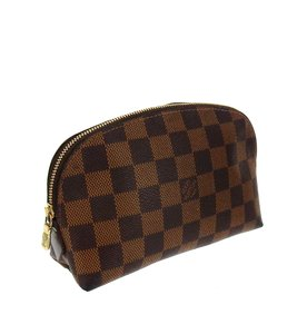 Louis Vuitton Demi Ronde 19 Damier Ebene Canvas Leather Toilette Travel Dopp Bag
