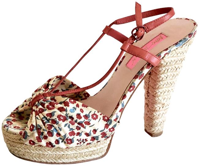 Item - Cream/Natural/Red Vintage Floral Espadrille Canvas Peep-toe Sandals Platforms Size US 7 Regular (M, B)