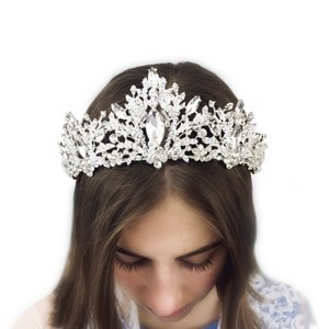 Other Snow Queen Crystal Crown Bridal Prom White Tiara Rhinestones