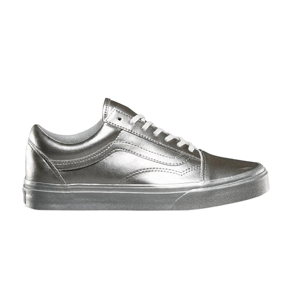 new release authentic lowest price Vans Silver Old Skool Metallic Sidewall Classic Low Top Sneakers Size US  7.5 Regular (M, B)