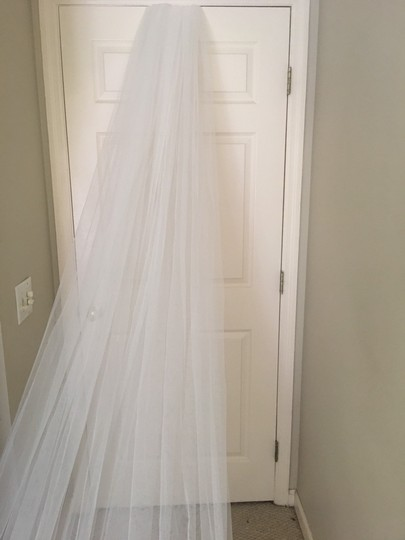 Long New Ivory 6m/19ft Lace Edge Cathedral Bridal Veil Image 3