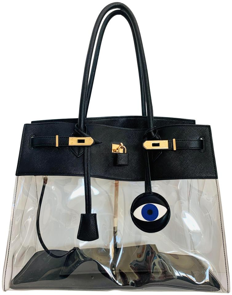 Black White Blue Evil Eye Vegan Leather Handbag Charm Fob &