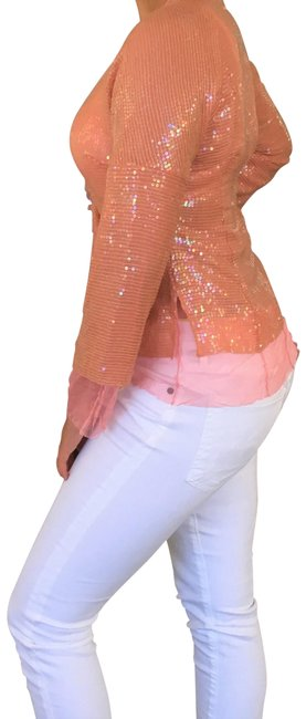 Item - Salmon Sequin Cocktail Jacket Tunic Size OS